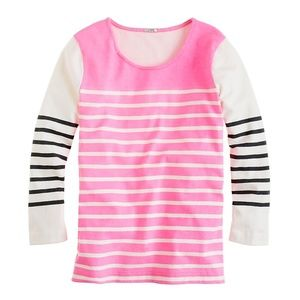 J. Crew Printed Colorblock Stripe Top